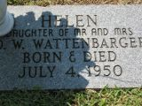 Daughter of Mr and Mrs O. W. Wattenbarger Born & Died July 4, 1950