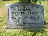 May 19, 1902          Aug 19, 1998  Loved by everyone  Ethel Mary Wattenbarger, of Sweetwater passed away Aug. 19, 1998 at Sweetwater Valley Convalescent Home. She was 96.She was a member of Mt. Zion Methodist Church in Meigs County.She was preceded in death by parents - Jim and Rhoda Fitch Wattenbarger.survivors: four nephews and five nieces; several great nieces and nephews. Funeral services will be held 8 p.m. tonight, Aug. 21, in Kyker's Chapel with Rev. Bill Dawson and Rev. Arthur Stansberry officiating. Interment is 11 a.m. Saturday in Beulah's Chapel Cemetery. The family will receive friends 6-8 p.m. prior to the funeral at Kyker's Funeral Home, Sweetwater. Sweetwater Memory Chapel in charge of arrangements.