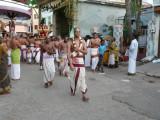 1st day periya murai parthasarathi bhattar beginning the rituals of brahmotsavam.JPG