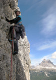 Climbing above Lake Misurini