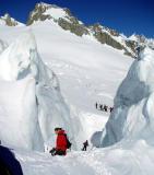 valleeblanch descent into crevace