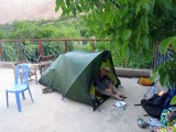 2008 Atlas Mountains Amsouzert tent pitched on gite rooftop terrace