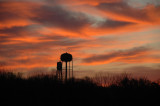 Sunrise with Water Towers