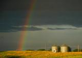 Rainbow with Grain Bins