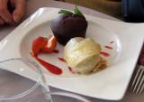 Chocolate cupcake and ice cream