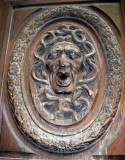Carving on a door in the Marais
