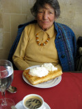 Dessert of waffles with Chantilly cream