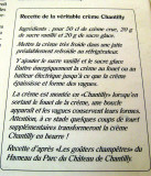 The recipe for Chantilly cream