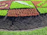 The carpet garden features symbols of