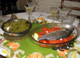 Sea bass and green beans