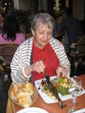 Jacqueline at a rue Mouffetard café