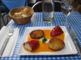 Basque appetizer potato croquettes and stuffed pepper