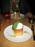House dessert of pastry cup with lemon cream