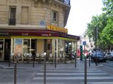One of 2 cafés on rue Monge across from Place Monge
