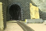 Close up view of lined tunnel