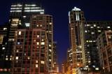 Seattle condos at night