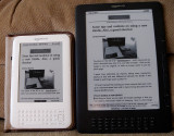 Kindle 3 & Kindle DX Graphite. See next shot for text, closeup.