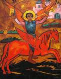 Religious Composition: Archangel Michael- Natalia Goncharova- 1910