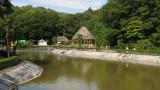 Manmade pond and Polynesian huts
