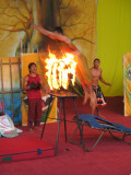 Trampoline jump over flaming rings