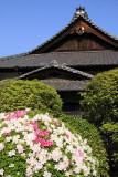 Azaleas and roofline of Hiun-kaku, Tamamo-kōen