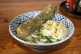 Bowl of bukkake udon with chikuwa tempura