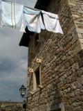 Laundry hanging outside a restored building