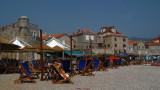 Rows of beach furniture