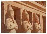Statues of Hatshepsut presented as Osiris