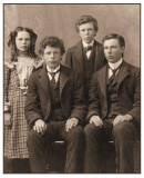My grandmother Clara Overboe and her three brothers.