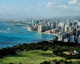 Waikiki Beach & Beyond from Peak of Diamond Head Crater