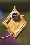 IMG_3597.jpg The Middleham Jewel AD 1400-1500 (front showing sapphire) - York Museum, York - © A Santillo 2011