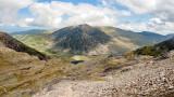 CRW_01252.jpg Glyder Fawr with Llyn Idwal, Llyn Ogwen & Pen yr Ole Wen - Glyder Fawr, Snowdonia - © A Santillo 2004