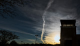 contrail at sunset - B&W below