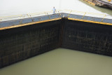 Note drop in water when pumped out of first lock
