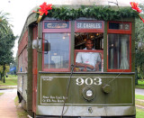 New Orleans Streetcar at Christmas Time