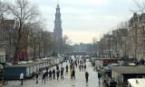 IJspret op een Amsterdamse gracht