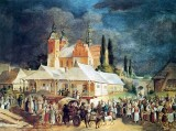 1845 - Market in Opatow, Poland