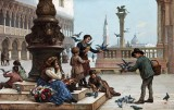 1912 - Feeding the pigeons