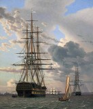 1828 - Ships at anchor, Helsingor, Denmark
