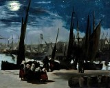 1869 - Harbor at Boulogne in Moonlight