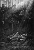 Burial of French soldiers in a shell hole
