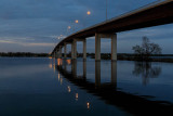 Norris Whitney Bridge before dawn with lights still on