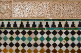 Decoration with glazed tiles and work in plaster