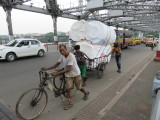 Kolkata walking across the Howrah bridge
