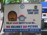 Kolkata sign in petrol station