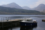 Inversnaid jetty with A'Chrois, Ben Ime and Ben Vane