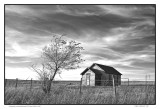 Deserted schoolhouse, Flint Hills in Kansas