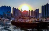 Sunset over Police Pier, Aberdeen Typhoon Shelter, Hong Kong