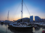 Sunset over the Typhoon Shelter viewed from the deck of Watermark
